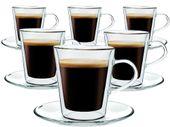Zestaw Szklanek Termicznych Kawy Herbaty Lungo 220ml 6 sztuk + Spodki