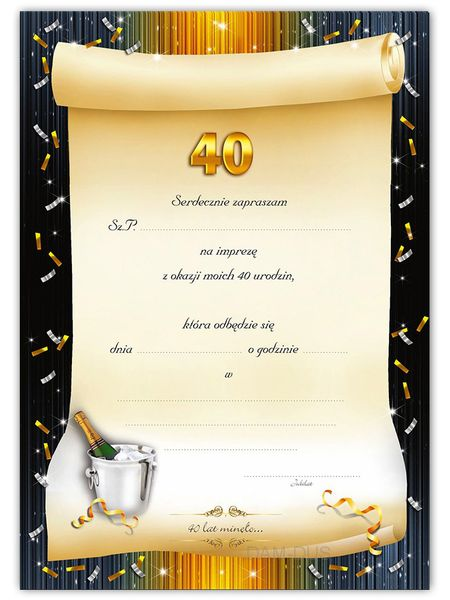 Zaproszenia Na 40 Urodziny Arenapl