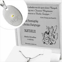 Srebrny KOMPLET medalik 925 GRAWER Chrzest Komunia