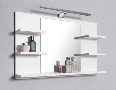 Białe lustro łazienka 5 półek lampa LED kinkiet, lustro łazienkowe