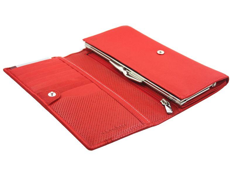 Długi, klasyczny portfel damski Samsonite, skórzany w kolorze czerwonym zdjęcie 4