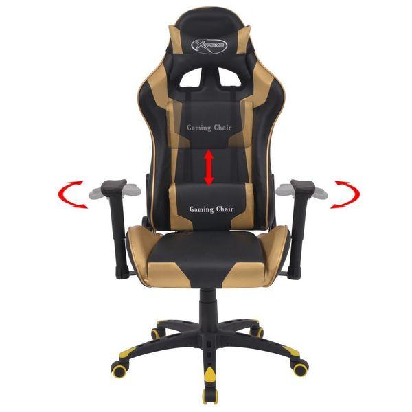 Rozkładane Krzesło Biurowe, Sportowe, Sztuczna Skóra, Złote zdjęcie 2