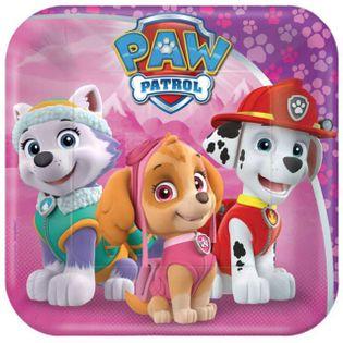 """Talerzyki papierowe """"Paw Patrol Pink"""", kwadratowe, 18 cm, 8 szt"""