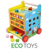 Kostka edukacyjna pchacz drewniany dla dzieci Ecotoys