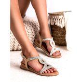 Zamszowe Sandały Z Kryształkami r.37 zdjęcie 3