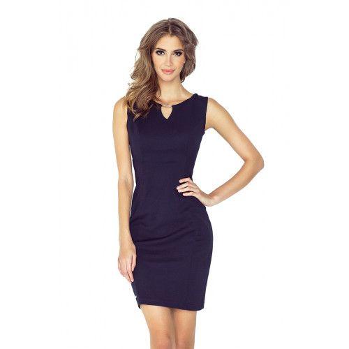 Elegancka sukienka z klamerką - GRANATOWA L zdjęcie 1