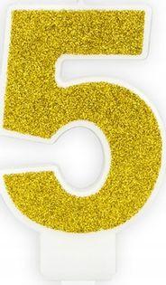Świeczka na tort cyferka 5 złota brokatowa