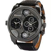 Zegarek męski Oulm 9316, czarny, skórzany pasek, 2 czasy, NOWY