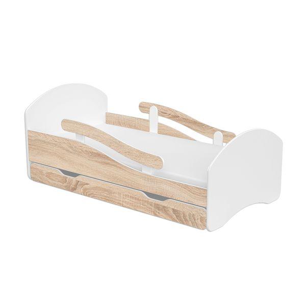 Łóżeczko dziecięce 140x70 białe-sonoma szuflada materac meble zdjęcie 1