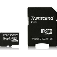 Transcend Memory microSDHC - Karta pamięci 16 GB Class 10 UHS-I 20/14 MB/s z adapterem