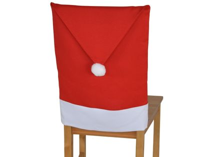 Pokrowiec na krzesło czapka mikołaja, matowy, czerwony