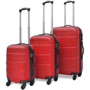 3 Walizki podróżne z twardą obudową na kółkach czerwone VidaXL