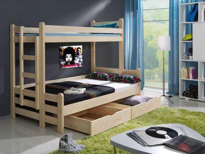 Łóżko piętrowe BULLOCK 200x120 sosna trzyosobowe