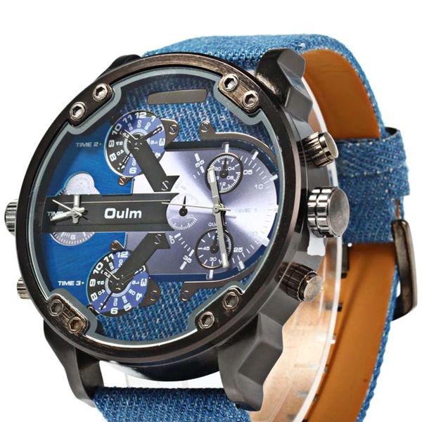 Zegarek męski, Oulm, 5 kolorów, dwa czasy, wodoszczelny, duży i modny zdjęcie 1