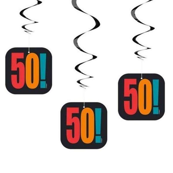 Dekoracja Na 50 Urodziny Kolorowe świderki Wiszące