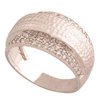 pierścionek rozmiar: 14 ,białe złoto 585/14k z cyrkoniami