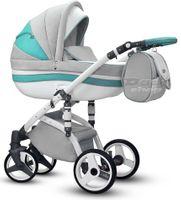 Miętowo-szary Stella Wiejar wózek dziecięcy wielofunkcyjny zestaw 3w1