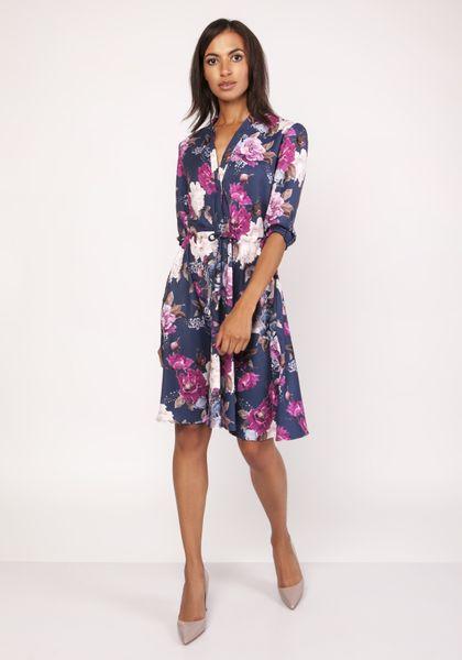 Wzorzysta sukienka z lekko rozkloszowanym dołem - Granatowy 44 zdjęcie 1