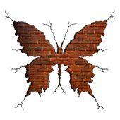 Naklejki na ścianę ścienne Motyl Cegły WS-0204