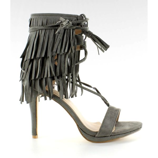 Sandałki na obcasie z frędzlami 8125 Grey r.36 zdjęcie 1
