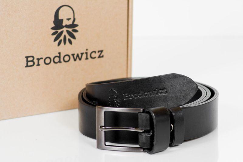 SKÓRZANY PASEK SZEROKI do jeansów CZARNY męski Brodowicz B-0035-1 HIT na Arena.pl