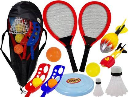 Zestaw Gier Sportowych Zręcznościowe Piłki Koszyk Badminton