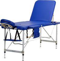 Stół, łóżko do masażu 3-segmentowe aluminiowe Niebieskie