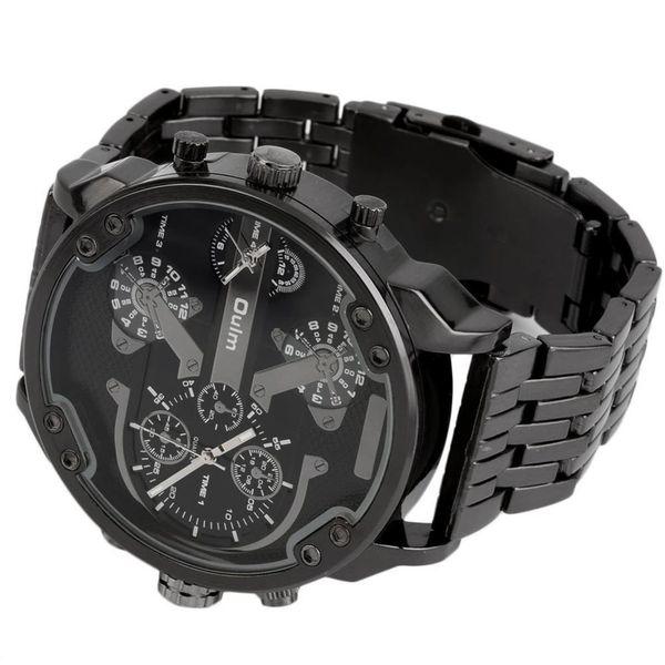 Najnowsze Zegarek męski Oulm 3548, 2 czasy, bransoleta, czarny, duży XXL UB83