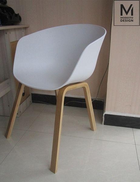MODESTO fotel ANGEL biały - polipropylen, podstawa bukowa zdjęcie 11