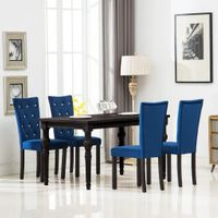 Krzesła stołowe 4 szt. granatowe aksamit VidaXL