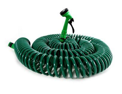 Spiralny wąż ogrodowy 30m + 5-funkcyjny pistolet
