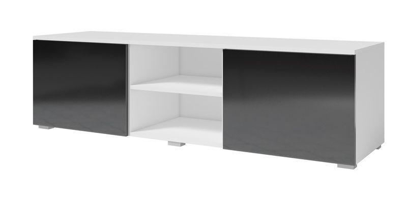 MD1 - Komoda RTV 150 MODO - biały mat/dąb MODO - Biały mat / czarny połysk zdjęcie 1