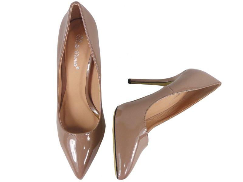 Szpilki damskie khaki jasny brąz zgrabne buty 41 zdjęcie 2