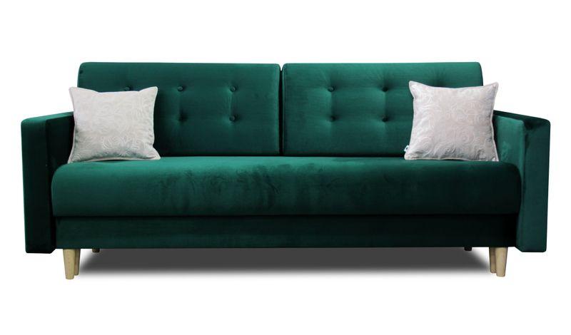 Skandynawska kanapa OSLO sofa rozkładana butelkowa zieleń zdjęcie 1