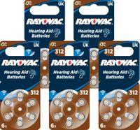60 x Baterie do aparatów słuchowych Rayovac 312