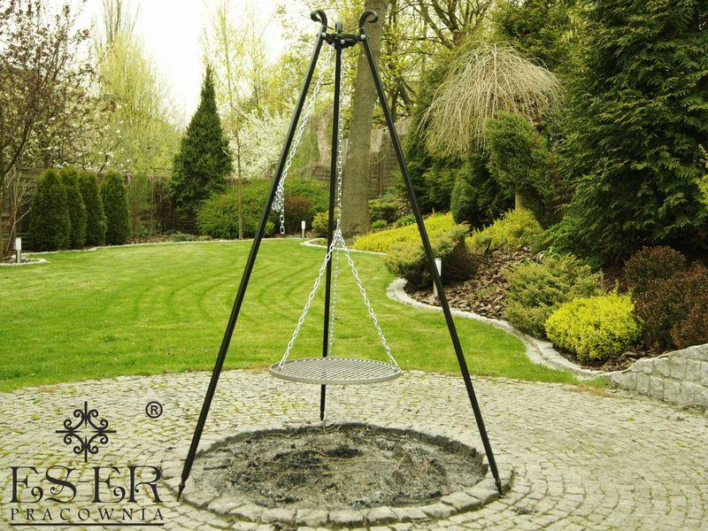 Grill ogrodowy na trójnogu PIOTR z rusztem stalowym 50 cm ES-ER zdjęcie 5