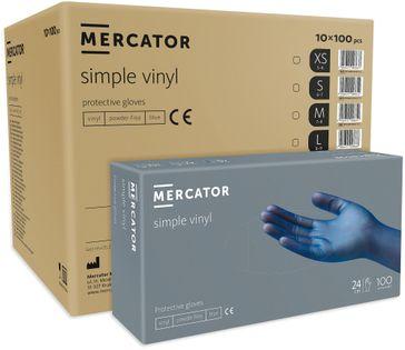 Rękawice winylowe bezpudrowe MERCATOR® simple blue M karton 10x100 szt