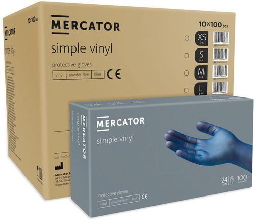 Rękawice winylowe bezpudrowe MERCATOR® simple blue S karton 10x100 szt na Arena.pl