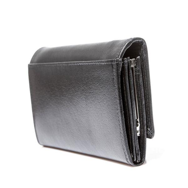 Czarny damski portfel elegancki DUŻY na bigiel skóra naturalna zdjęcie 4