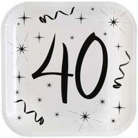 Talerzyki urodzinowe kwadratowe 40 URODZINY białe