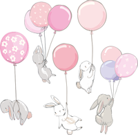 NALEPKI ścienne ZAJĄCE królikami BALONY z balonami ZESTAW dziecka M