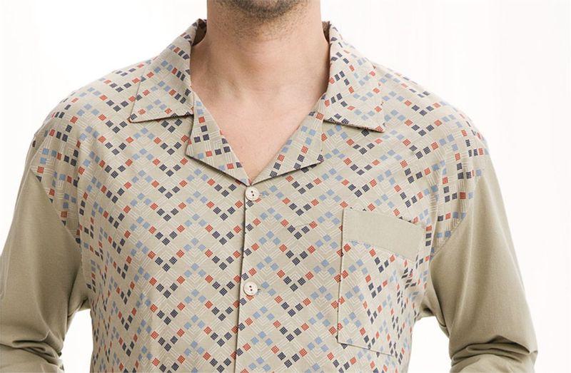Piżama męska LUNA kod 797 rozpinana beżowy roz. XL zdjęcie 3