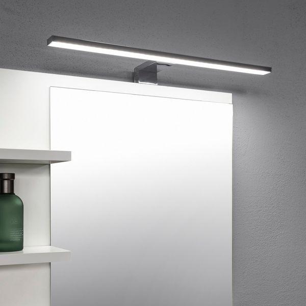 Białe Lustro łazienka 5 Półek Lampa Led Kinkiet Lustro łazienkowe