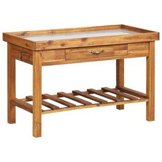 Stół ogrodniczy z cynkowym blatem, lite drewno akacjowe