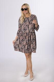 wzorzysta sukienka z odcięciem w pasie