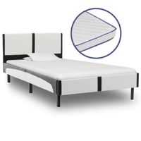 Łóżko z materacem memory, sztuczna skóra, 90x200 cm