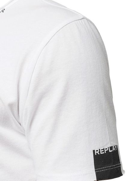 REPLAY Men's V-Neck Printed Cotton Jersey T-Shirt White M34672660-001 - M zdjęcie 3
