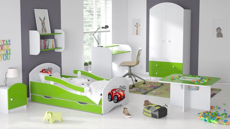 Łóżko dziecięce 140x70 biało-zielone/limonkowe materac gratis zdjęcie 3