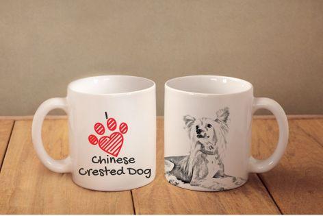 """Grzywacz Chiński - kubek z wizerunkiem psa i napisem """"I love..."""". Wysokiej jakości kubek ceramiczny."""