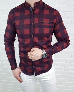 Bordowa meska koszula slim fit w krate ze stojka 0168/9 - S